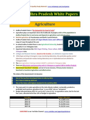 Gist of Andhra Pradesh White Papers pdf | Agriculture