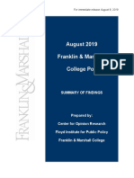 F&M Poll Release August 2019