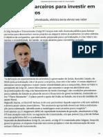 VALOR ECONOMICO - Celg Busca Parceiros Para Investir Em Novos Projetos