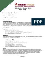 algebra  syllabus 2019-2020