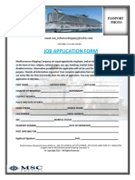 Mediterranean Shipping Company. Job Application Interview Form
