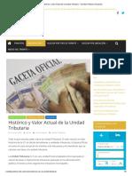 Histórico y Valor Actual de La Unidad Tributaria - Tramites Públicos Venezuela