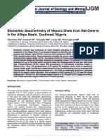Biomarker Geochemistry of Nkporo Shale from Ndi-Owerre in the Afikpo Basin, Southeast Nigeria