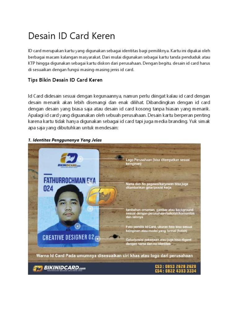 Bikin Desain Id Card Keren
