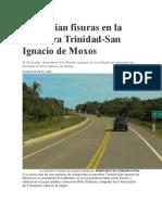 Denuncian Fisuras en La Carretera Trinidad