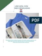 Blusa de Lino Azul Con Aplicaciones Deshiladas