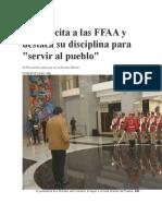 Evo Felicita a Las FFAA y Destaca Su Disciplina Para