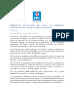 Requisitos Establecido Para Afiliacion y Desafiliacion Partido Politico