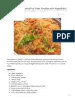 Pancit Bihon Guisado Rice Sticks Noodles With Vegetables