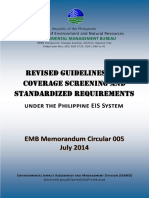 Revised Guidelines for Coverage Screening and Standardized Requirements EIA