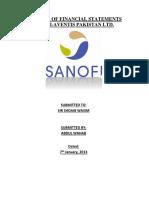 Sanofi Analysis of Financial Statements Report