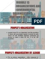 Module 13 People's Organizations and Non Governmental Organizations Partners of the Pas