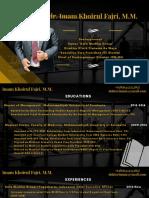 Resume CV Imam Khoirul Fajri