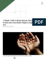 1 Rajab 1440 H Mulai Besok, Berikut Niat Puasa Dan Doa Bulan Rajab Lengkap Dengan Arti - Halaman All - Tribunnews.com