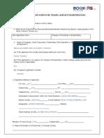 Application Form for Travel Agency Registration