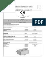 SCPR - Fiche Technique Produit Béton - Bloc HD à Enduire 20.01F