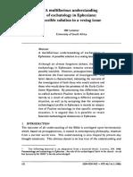 Lemmer, HR - A Multifarious Understanding of Eschatology in Ephesians.pdf