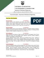 Courses Description - Department of Mechanical Engineering - University of Khartoum