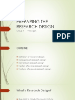 Preparing the Reseach Design