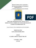 """Efecto Del Programa Social """"Juntos"""", En La Disminución de La Pobreza de Los Hogares Rurales en El Perú en El Periodo 2005 –2017"""