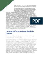 Papel Que Juega La Familia Para Inculcar Los Valores
