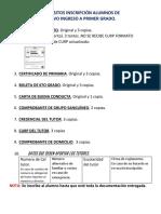 Requisitos Inscripción Alumnos de Nuevo Ingreso Primer Grado
