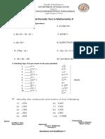 1st Periodic Test in Math 9 2018