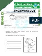 Ficha El Tahuantinsuyo Para Tercero de Primaria