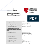 MSc Global Supply Chain Management Programme Specification 2017 2018