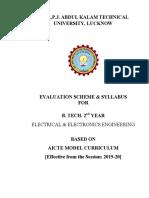 B.tech 2nd Year Electrical & Electronics AICTE Model Curriculum 2019-20