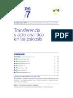 Transferencia y acto analítico en las psicosis