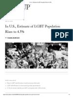 In U.S., Estimate of LGBT Population Rises to 4.5%