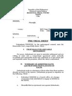 PreTrial Brief Sample