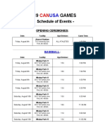 CANUSA Schedule of Events 2019