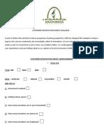 Customer Satisfaction Survey Questionnaire