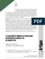 A Experiência Religiosa Na Renovação Carismática Católica à Luz de Rudolf Otto