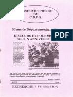 Dossier du CDPS, 50 ans de Départementalisation, Août 1996