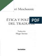 Meschonic - Ética y polìtica del traducir