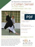 Charles Colten Sensei at NOLA Aikido September 2019 Flyer