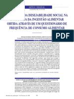 Influência Da Desejabilidade Social Na Estimativa Da Ingestão Almentar Obtidas Através de Um Questionário