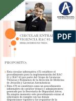 Circular Entrada en Vigencia Rac 61 – Rac 63 Erika Rodriguez Vieda