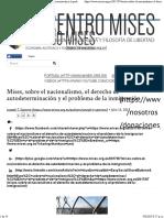 Mises, Sobre El Nacionalismo, El Derecho de Autodeterminación y El Problema de La Inmigración _ Centro Mises
