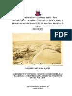 As Fontes Dos Vestigios Memória e Fotografia Nas Transformações Urbanas Na Cidade de Conquista Entre 1920 a 1940