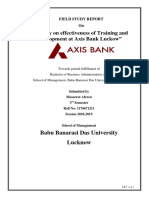A Study on Effectiveness of Training and Development at Axis Bank Luckow