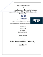 A Study on Customer Perception Towards Hyundai Motors (Santro) With Special Reference to Lucknow