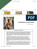 Georg Simmel, _La Metropolis y La Vida Mental