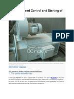 Dc motors starting methods