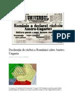 Declarația de Război a României Către Austro