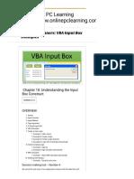 VBA for Beginners VBA Input Box Examples - Online PC Learning