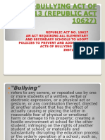 Anti-bullying Act of 2013 (Republic Act 10627